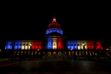 San Francisco City Hall is lit up with blue, white and red, the colors of the French flag, following the Paris terror attacks, in San Francisco